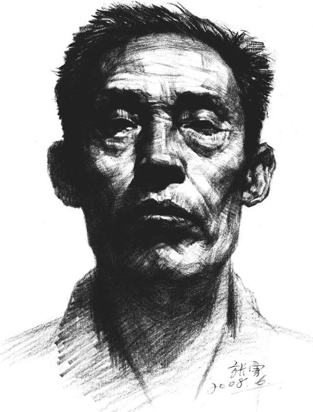 素描老人头像正脸步骤图八