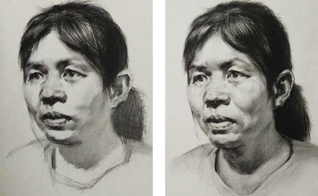 女中年3/4面人物头像素描绘画步骤三和四
