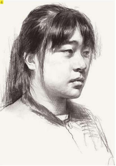 女生简单素描黑白头像步骤四