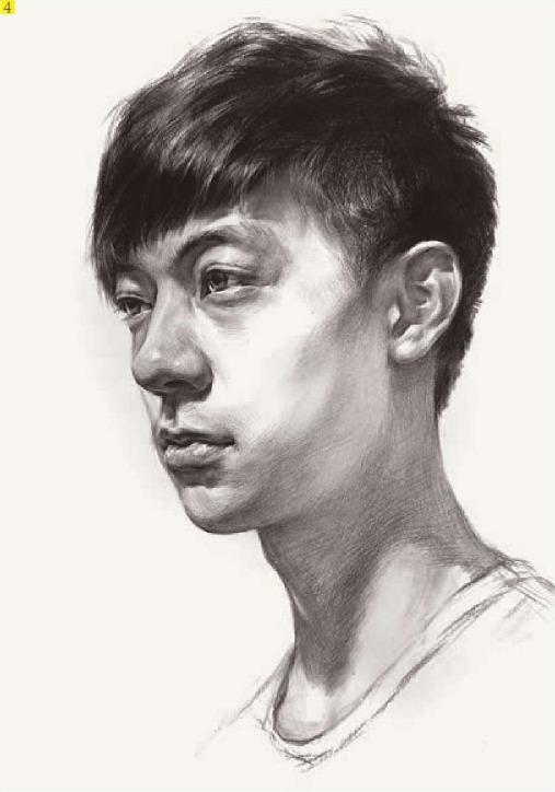 男青年素描头像临摹步骤四