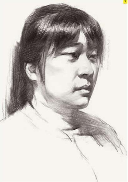 女生简单素描黑白头像步骤三