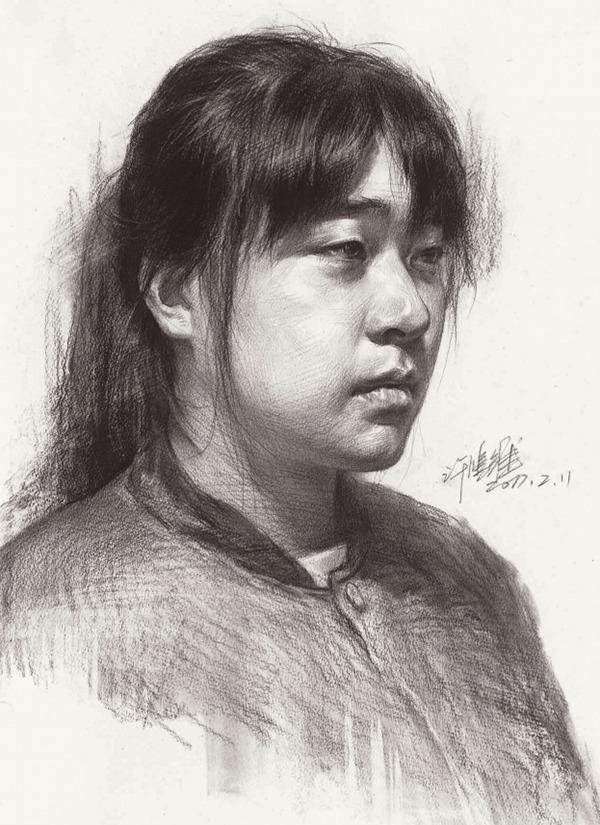女生简单素描黑白头像