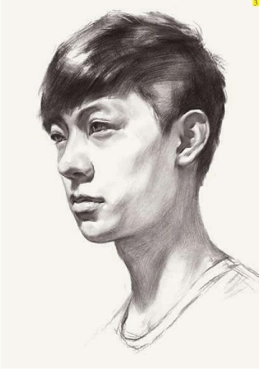 男青年素描头像临摹步骤三
