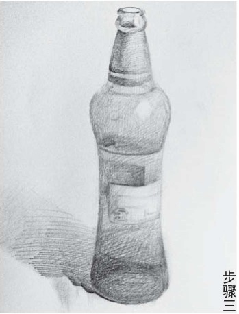 素描啤酒瓶的画法步骤三