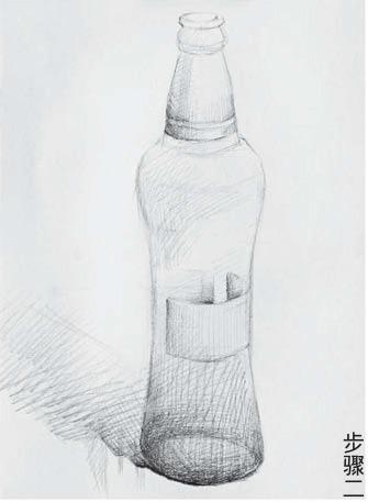 素描啤酒瓶的画法步骤二