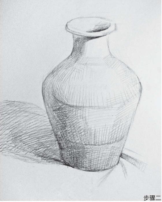素描普通罐子的画法步骤二