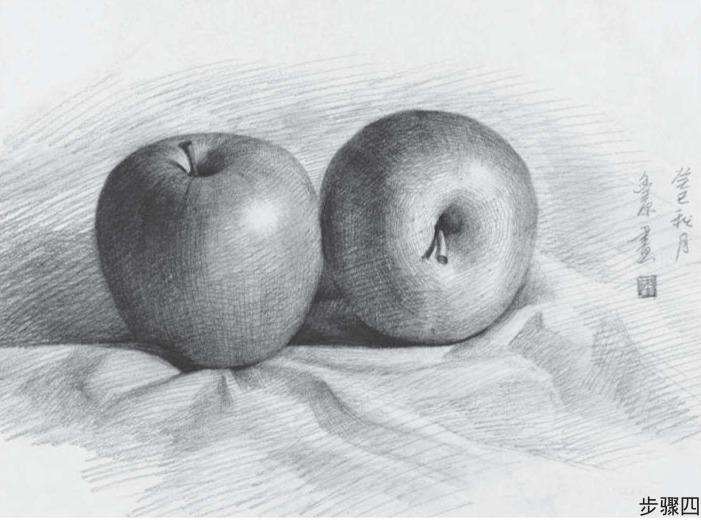 苹果组合素描步骤四