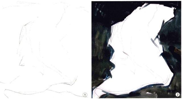 色彩衬布画法步骤一和二
