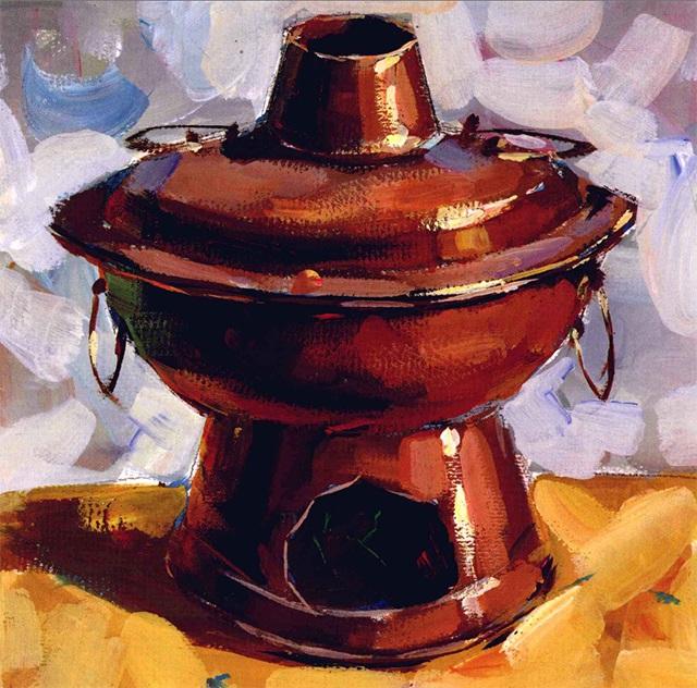 色彩铜火锅