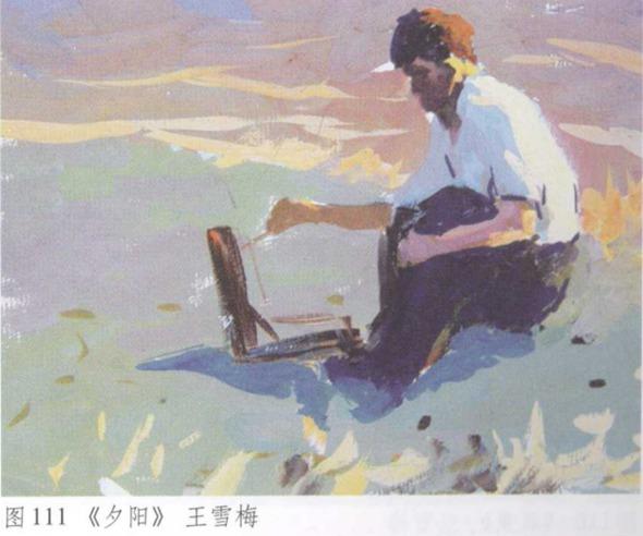 图111《夕阳》水粉风景画 王雪梅