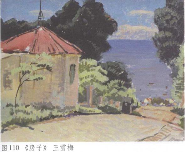 图110《房子》水粉风景画 王雪梅