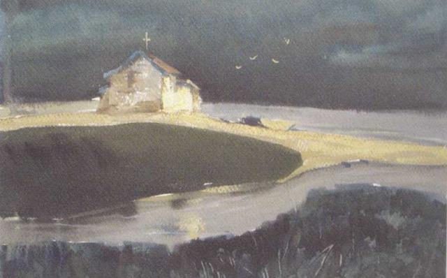 湿画法范画《静静的海岸》王雪梅