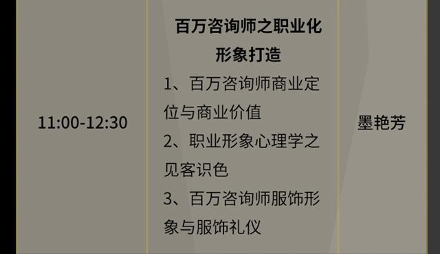 11:00-12:30百万咨询师之职业化形象打造(墨艳芳)