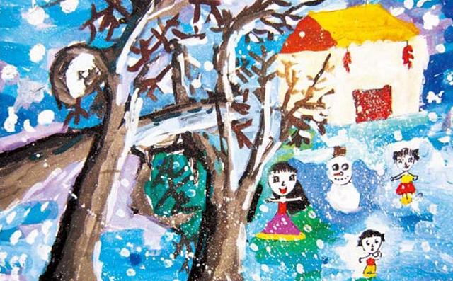 下雪了色彩练习