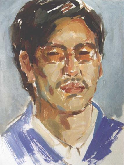 男青年水粉人物画教程步骤(三)