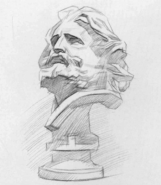 马赛石膏像素描步骤三