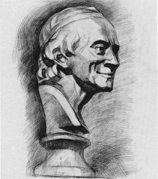 伏尔泰石膏像素描步骤八