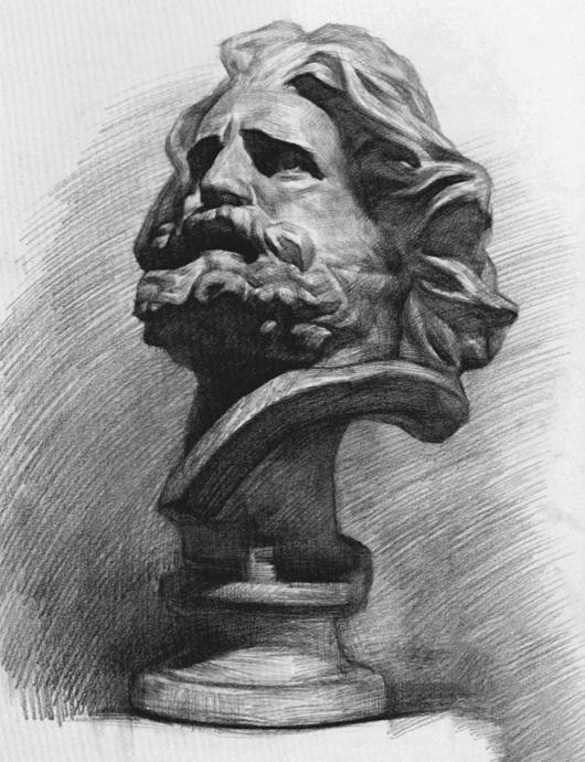 马赛石膏像素描步骤七