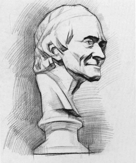 伏尔泰石膏像素描步骤七