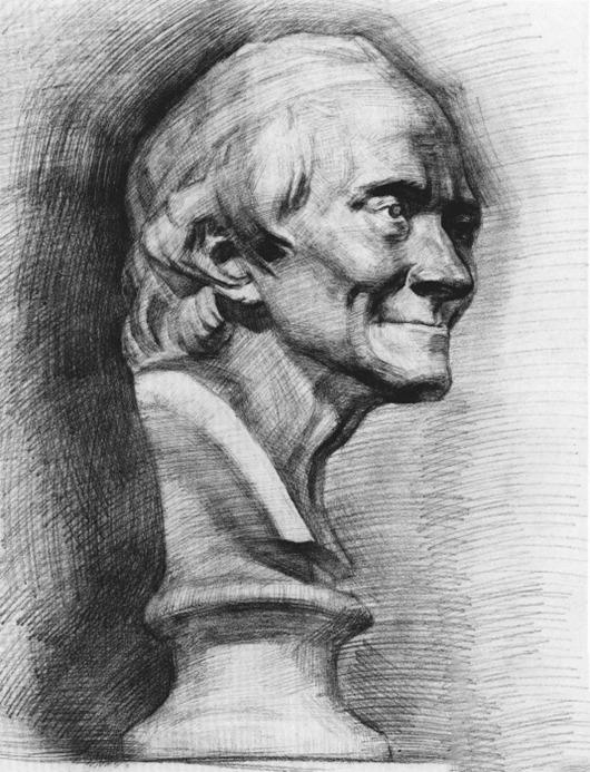 伏尔泰石膏像素描步骤十