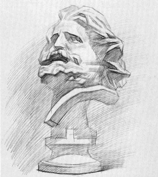 马赛石膏像素描步骤四
