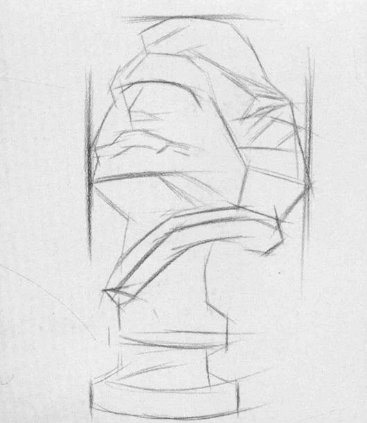 马赛石膏像素描步骤一