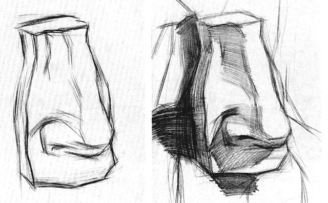 石膏鼻子的作画步骤一和二
