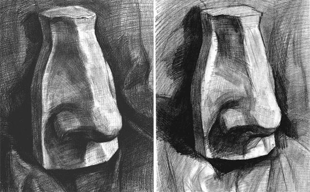 石膏鼻子的作画步骤三和四