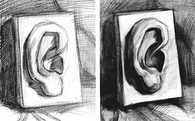 石膏耳朵素描步骤三和四