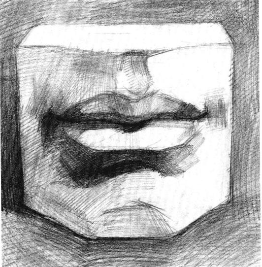 石膏嘴巴素描画法步骤三