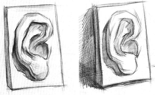石膏耳朵素描步骤一和二