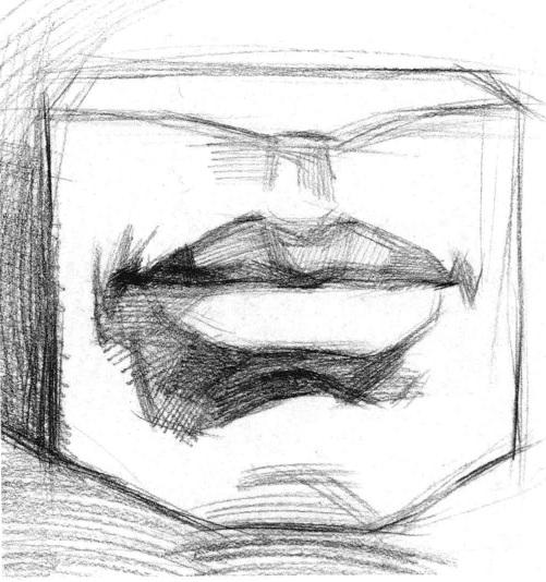 石膏嘴巴素描画法步骤二