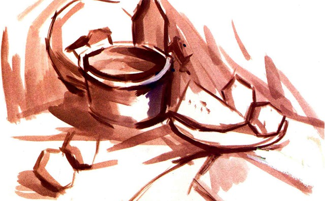 水粉金属器皿组合画法步骤一