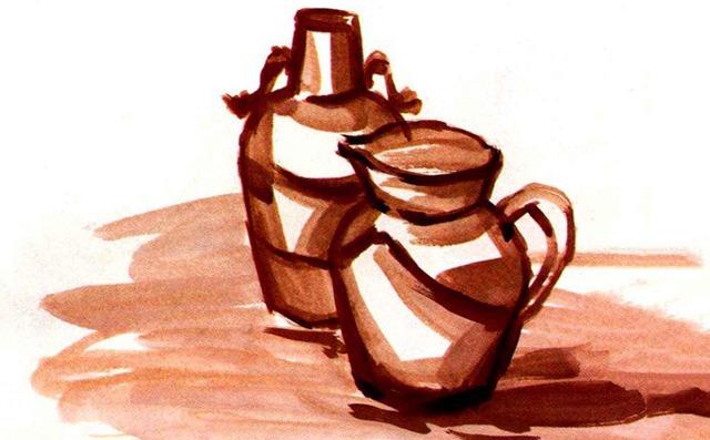 水粉陶罐画法步骤一