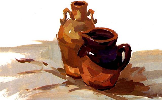 水粉陶罐画法步骤三