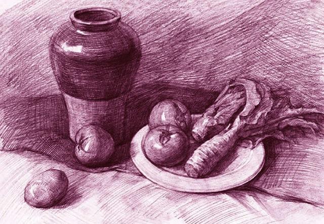 陶罐、莴苣和西红柿素描静物组合