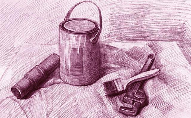 油漆桶、刷子和扳手素描静物组合