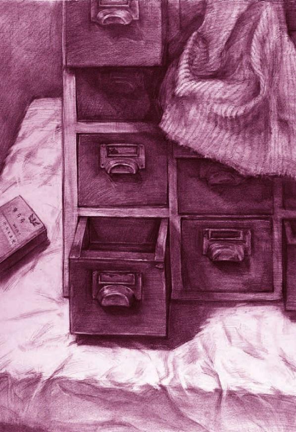 抽屉、棉毯和书素描静物组合