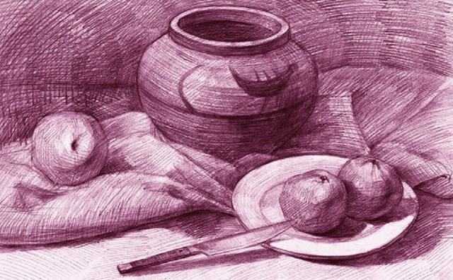 坛子、苹果与水果刀素描静物组合