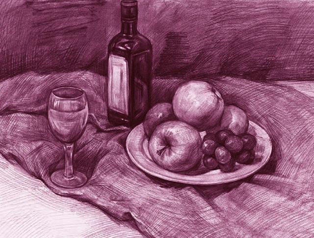水果盘、酒瓶和高脚杯素描静物组合