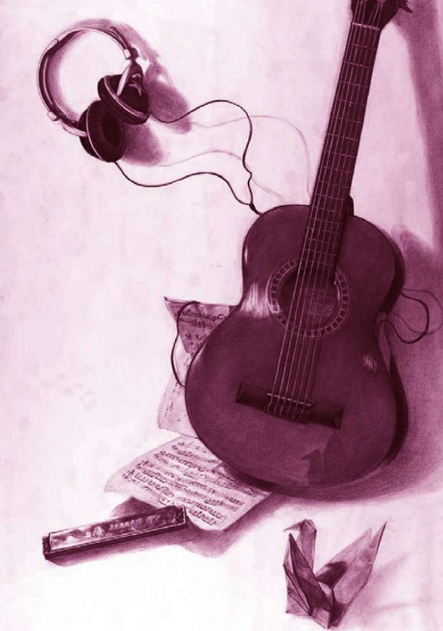 吉他、乐谱和耳机素描静物组合