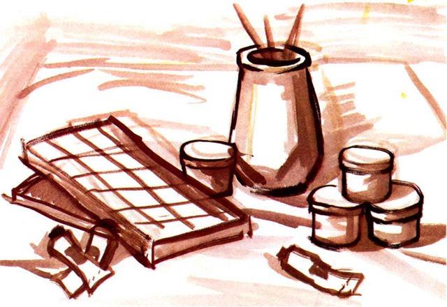 水粉文具静物组合画法步骤一