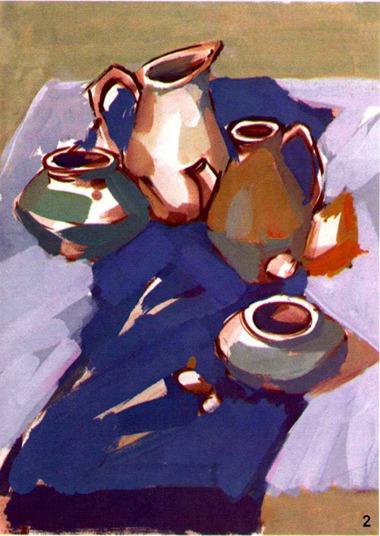 水粉陶罐画法步骤二