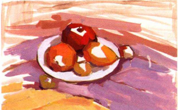 水粉水果静物组合画法步骤二
