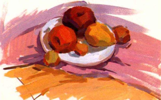 水粉水果静物组合画法步骤三