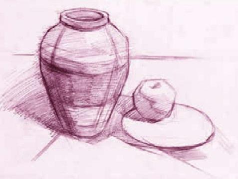 罐、盘子和苹果绘画步骤二