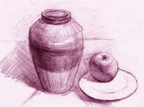 罐、盘子和苹果绘画步骤三