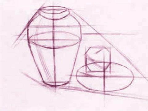 罐、盘子和苹果绘画步骤一