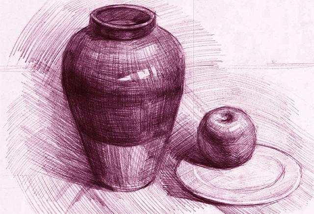 罐、盘子和苹果绘画步骤四