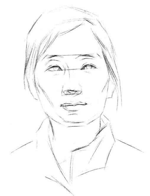 铅笔素描头像的画法步骤二